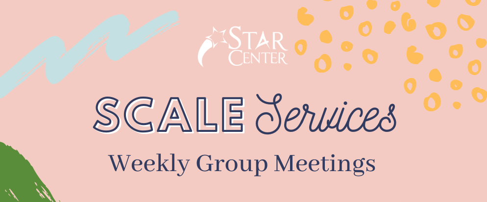 SCALE Services Weekly Group Meetings on salmon background with different colors and patterns behind it to invoke creative vibe.