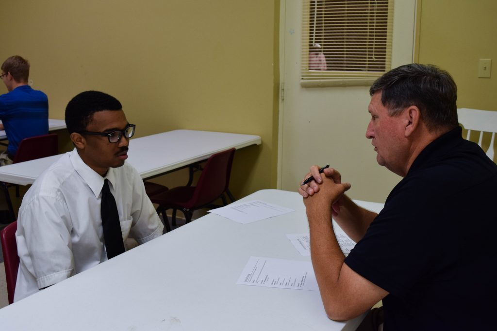 A mock job interview at SOAR Camp