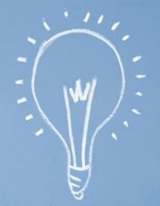 Hand drawn white light bulb on blue background
