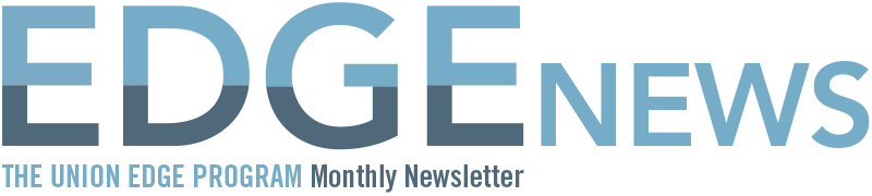 "Edge News: The Union Edge Program Monthly Newsletter"" text depicted in dark and light blue tones"