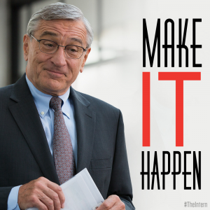 "Old white man wearing glasses and dressed in a suit and tie next to the words ""Make It Happen"""