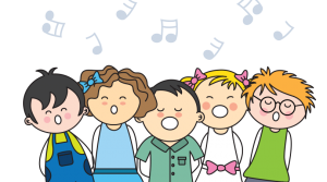 Five cartoon children singing with music notes above their heads