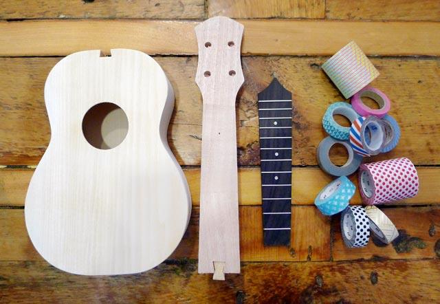 Cardboard guitar not assembled yet