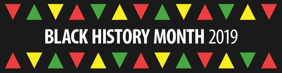 "Black Backgroup with green, yellow, and red triangle border with the words, ""Black history Month"" across the middle of the image."