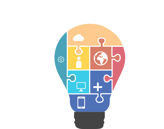 lightbulb shape with dark connecting end, bulb filled with sections (shaped as puzzle pieces) representing different areas of life. Sections contain one of the following: a cloud, a gear wheel, the Earth, a nondescript person, a computer monitor, a plus sign, and a tablet/smartphone outline.