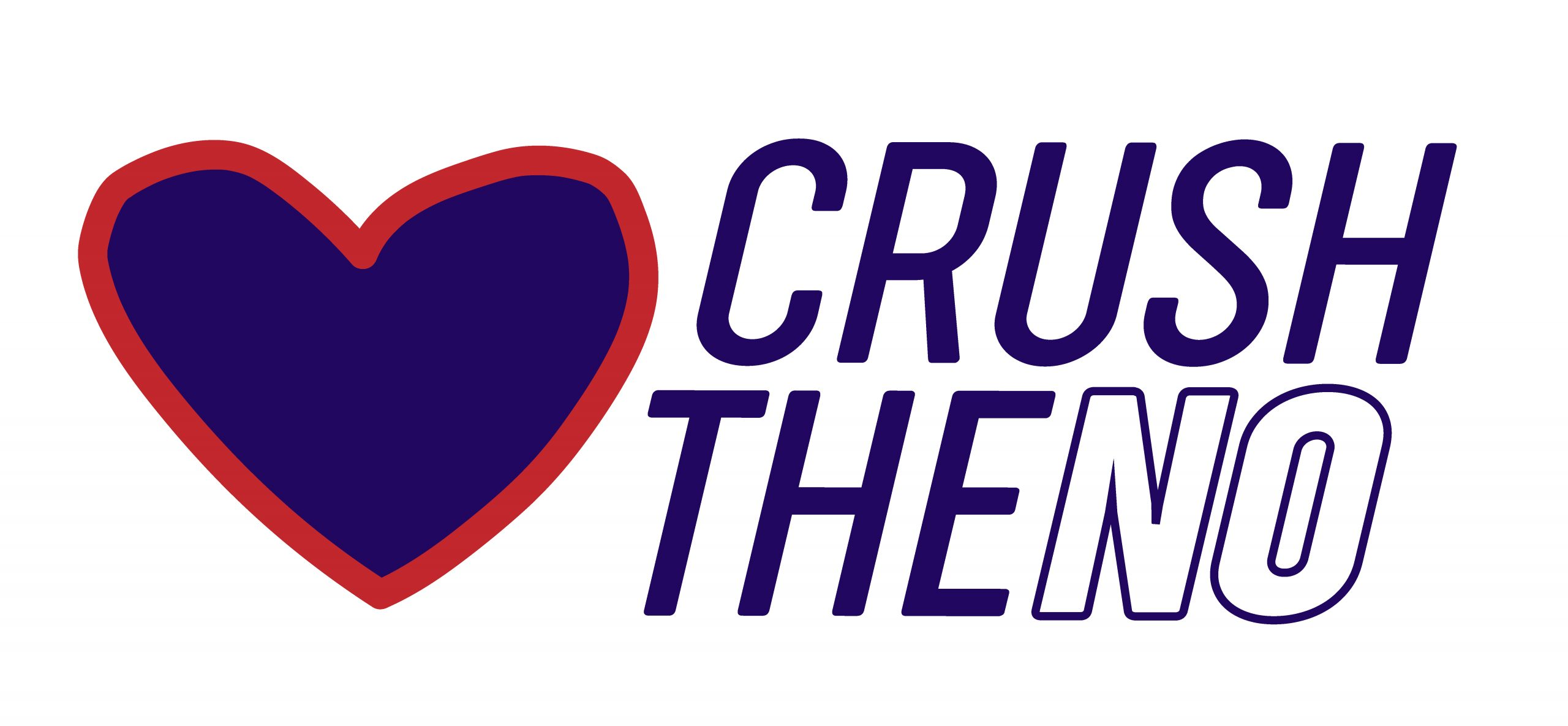 Heart shape next to Crush The No logo. An image depicting love conquers all.